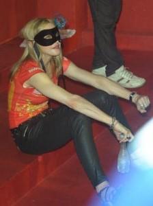 Madonna chega na Sapucaí no Rio de Janeiro.
