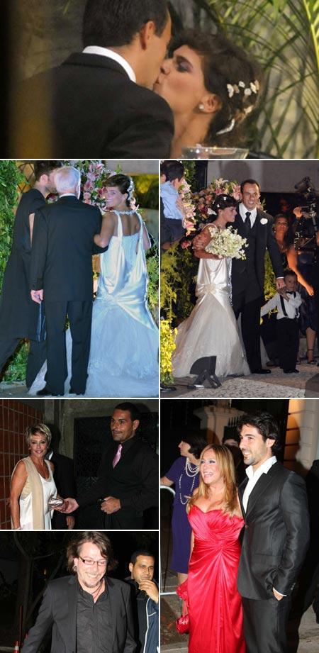 Mariana Maffei e Paschoal Feola, a noiva entrando e saindo da igreja, Ana Maria Braga e Marcelo Frisoni, Susana Vieira e Sandro Pedroso e Lenine