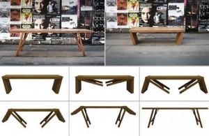 Banco que se transforma em mesa é um dos objetos de desejo criado na Dinamarca.