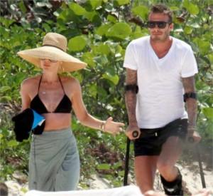 Victoria e David Beckham passam férias no Caribe.