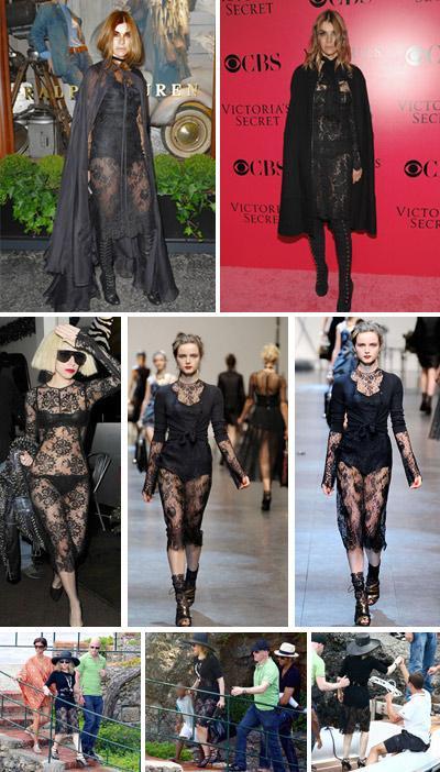Carine Roitfeld na festa da Ralph Lauren e o mesmo look usado no ano passado, Lady Gaga, looks da coleção de verão 2010/2011 da Dolce & Gabbana e Madonna: certo ou errado?