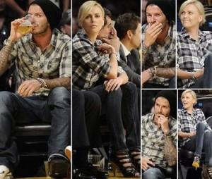 Charlize Theron e David Beckham usam quase o mesmo estilo de roupa em jogo do LA Lakers.
