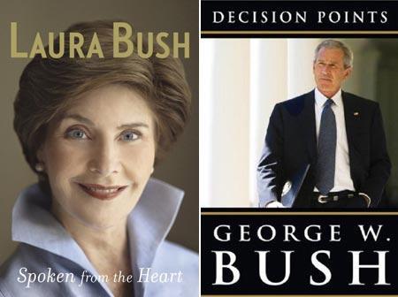 """""""Spoken from the Heart"""", de Laura Bush, e """"Decision Points"""", de George W. Bush: casal poderoso"""