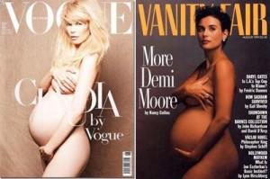 """A edição de junho da """"Vogue"""" alemã tem a capa assinada por Karl Lagerfeld, mas melhor do que isso é a modelo: Claudia Schiffer grávida."""