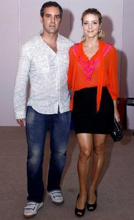 Christine Fernandes com o marido, Floriano Peixoto, no Fashion Business: nada de férias