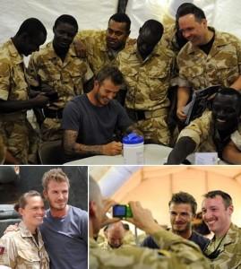David Beckham faz visita a tropas britânicas no Afeganistão.