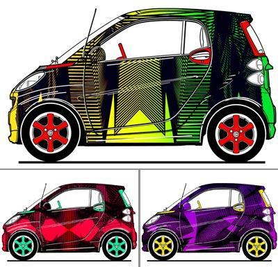 Os três modelos de Smart desenvolvidos por AD Ferrera: moda sobre quatro rodas