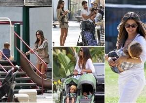 Alessandra Ambrosio e Camila Alves passeiam com os filhos.