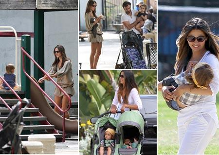 Alessandra Ambrosio com Jamie Mazur e Anja, em Nova York; e Camila Alves com Levi e Vida, em Los Angeles: mamães coruja