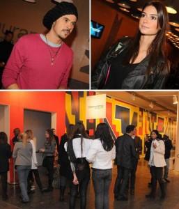 Paulinho Vilhena e Thaila Ayala estão no lounge Glamurama, na SPFW.