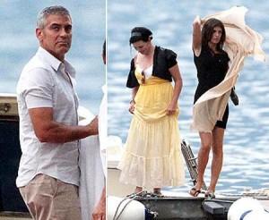 George Clooney passeia de barco com a namorada e a ex…