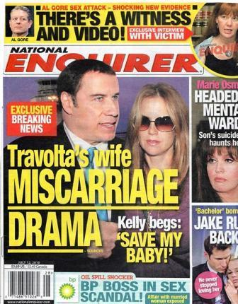 """Cover of the """"National Enquirer"""": Scare for the Travolta family"""