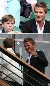 David Beckham took one of his sons to watch the semifinals of Wimbledon, in England.