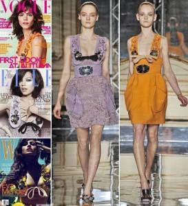 Vestido da Miu Miu estampa capa de três revistas internacionais neste mês.