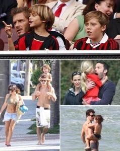 Pais famosos curtem o fim de semana com os filhos.