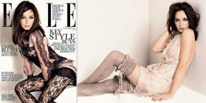 """Emily Blunt stars the cover and spread of Septembe's edition of Brithish """"Elle""""."""