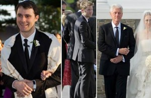 After releasing that Chelsea Clinton, bride of the year, wore a Vera Wang gown and her mother, Hillary, chose Oscar de la Renta, attentions turned to former President Bill Clinton and groom, Marc Mezvinsky.