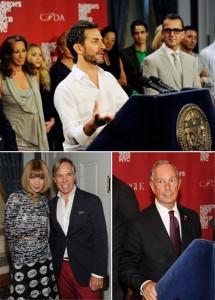 O prefeito de Nova York, Michael Bloomberg, se reuniu com alguns dos nomes mais importantes da moda para falar sobre o Fashion's Night Out.