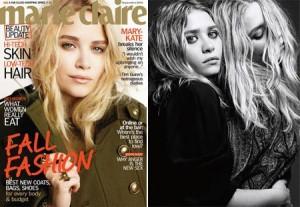 """Mary-Kate e Ashley Olsen são os destaques da s revistas """"Marie Claire""""e """"Harper's Bazaar"""" norte-americana."""