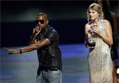Kanye West and Taylor Swift:  taking the stage in the 2009 VMAs