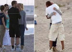 Gwyneth Paltrow e Chris Martin fotografados juntos nos Hamptons.