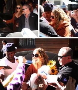 Mariah Carey recebe flores e acena para fãs em chegada ao hotel Fasano, em São Paulo.