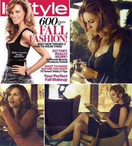 Hilary Swank com visual diferente em capa de revista.