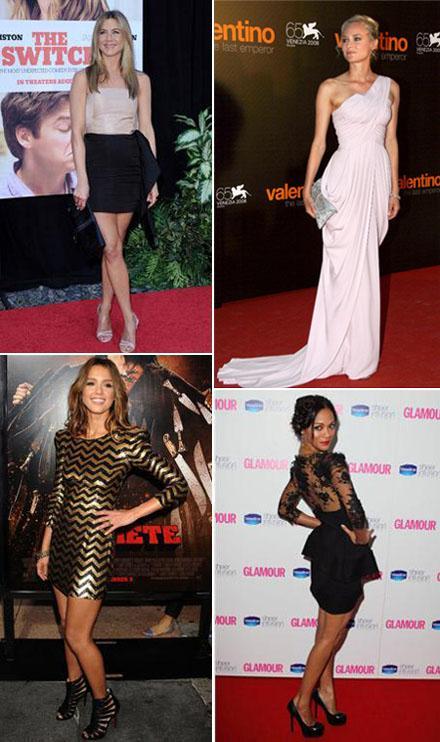Jennifer Aniston, Diane Kruger, Jessica Alba e Zoe Saldana; boas de guarda-roupa