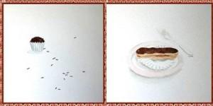 Exposição na Maria Brigadeiro traz telas de docinhos.