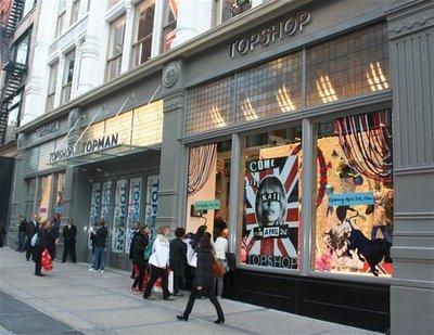 Topshop's front in New York: The brand is expanding on the north-amercian territory