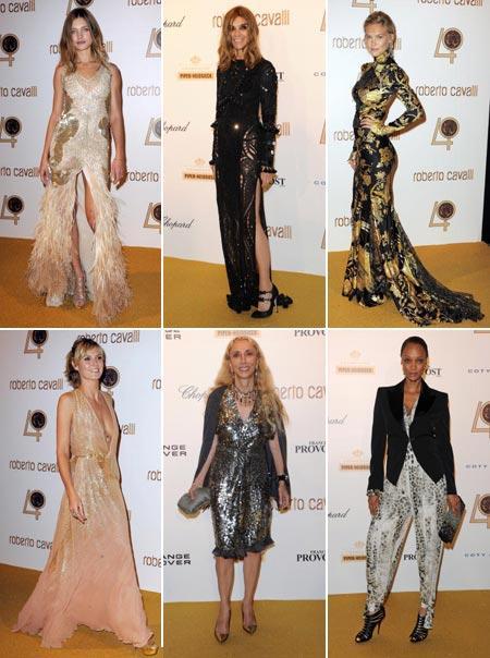 Natalia Vodianova, Carine Roitfeld, Bar Refaeli, Heidi Klum, Franca Sozzani e Tyra Banks: estrelas da noite que celebrou os 40 anos da marca Roberto Cavalli