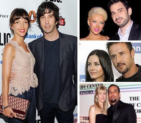 The newly married David Schwimmer and Zoe Buckman and those separated, Christina Aguilera and Jordan Bratman, Courteney Cox and David Arquette and Ben Harper and Laura Dern: the beginning and end