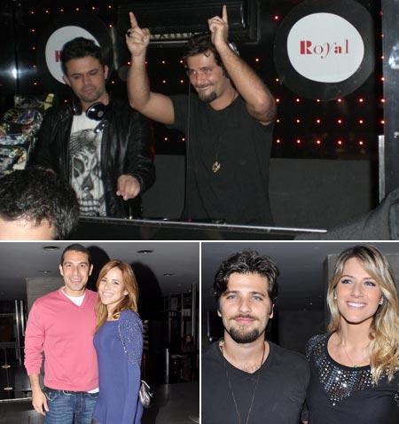 Bruno Gagliasso de DJ, Marcus Buaiz e Wanessa, Bruno com a mulher, Giovanna Ewbank, na Royal Club: balada animada