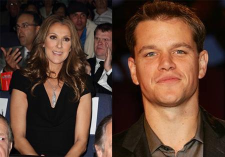 Celine Dion e Matt Damon: visita da cegonha