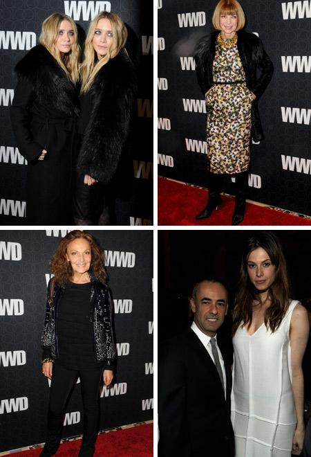 """Mary-Kate e Ashley Olsen, Anna Wintour, Diane von Furstenberg, Francisco Costa e Elettra Wiedemann: comemoração dos cem anos do """"WWD"""""""