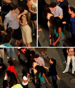 """Robert Pattinson e Kristen Stewart se beijam na gravação do filme """"Amanhecer"""", o Rio de Janeiro."""
