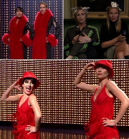 Gwyneth Paltrow com Lea Michele e com Jane Lynch: no melhor estilo Liza Minnelli