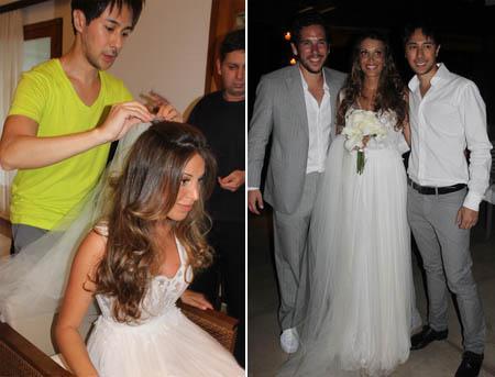 Janaina nos retoques finais antes do casório, e na festa com Felipe Faria e Michel Nakamura: enfim, casados