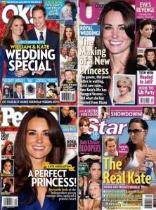 Kate Middleton está em todas as capas de revistas de famosos nos EUA.