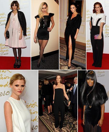 Alexa Chung, Alice Dellal, Victoria Beckham, Charlotte Dellal, Lara Stone, Phoebe Philo and Naomi Campbell: on the red carpet at the British Fashion Awards in London
