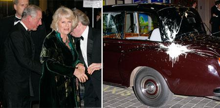 Prince Charles and his wife Camilla, and the damaged Rolls Royce: endless protests in London!