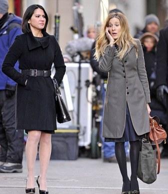 Olivia Munn e Carrie Bradshaw: set em Nova York