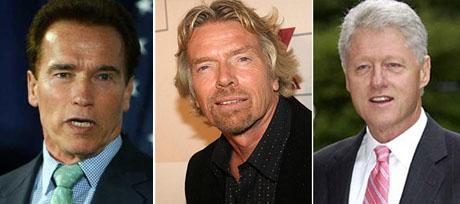 Arnold Schwarzenegger, Richard Branson and Bill Clinton, discussing sustainability
