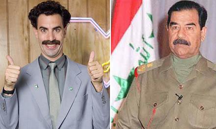 Sacha Baron Cohen e Saddam Hussein: dispostos a chocar a América