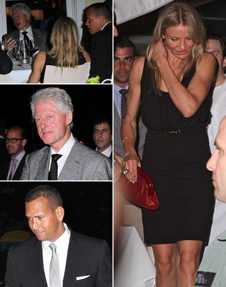 Bill Clinton, Cameron Diaz e Alex Rodriguez: jantar a três