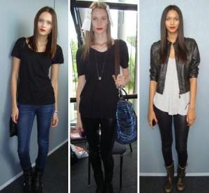 As modelos elegem preto e coturno para encarar a maratona de desfiles