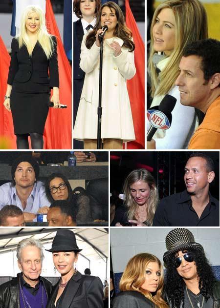 Christina Aguilera, Lea Michele, Jennifer Aniston and Adam Sandler, Ashton Kutcher and Demi Moore, Cameron Diaz and Alex Rodriguez, Michael Douglas and Catherine Zeta-Jones, Fergie and Slash: Sunday at the Super Bowl