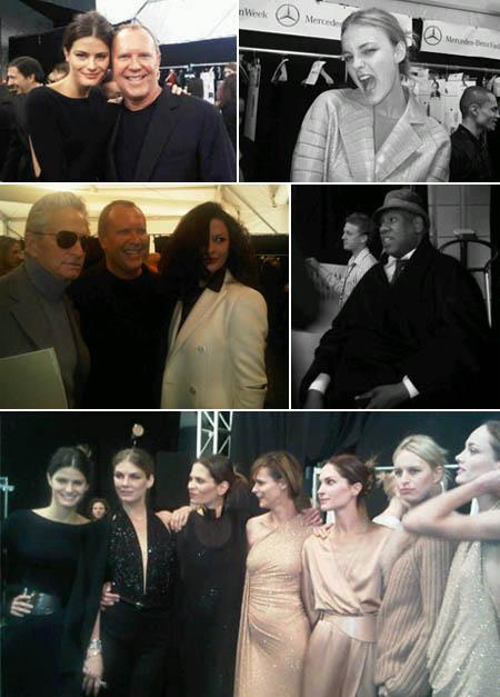 Isabeli Fontana and Michael Kors, Carol Trentini, Michael Douglas and Catherine Zeta-Jones, Andre Leon Talley and the models together backstage: countdown to the show celebrating the brand's 30 years