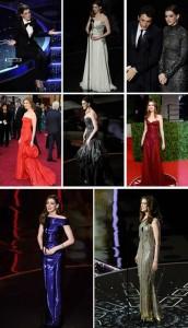 Anne Hathaway usou oooito looks diferentes durante o Oscar. Qual o seu preferido?