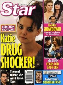 A revista Star disse que Katie Holmes era drogada e que estava em tratamento. Xiii, a moça acaba de entrar c/ um processo…